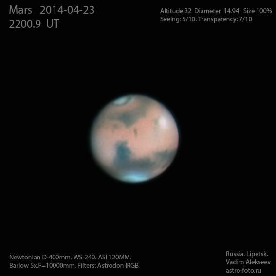 Марс за 23 апреля 2014 года из обсерватории Вадима Алексеева